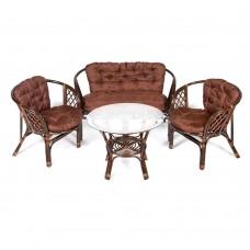 """Комплект кофейный из ротанга """"Багама ST"""" (стол+2 кресла+диван, подушка твил)"""