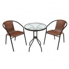 Комплект кофейный Bistro (стол+2 кресла) из искусственного ротанга (круглый стол)