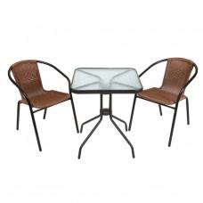 Комплект кофейный Bistro (стол+2 кресла) из искусственного ротанга