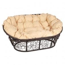 Кресло MAMASAN цвет плетения коричневый, цвет подушки бежевый