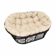Кресло MAMASAN цвет плетения черный, цвет подушки бежевый