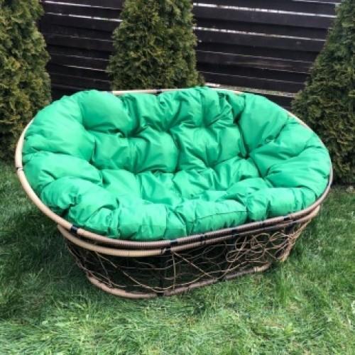 Кресло MAMASAN цвет плетения коричневый, цвет подушки зелёный