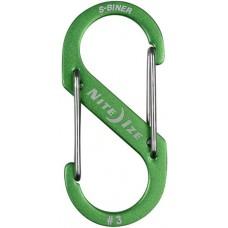 Карабин Nite Ize S-Biner Carabiner, алюминиевый, размер 3, зелёный