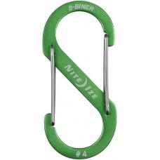 Карабин Nite Ize S-Biner Carabiner, алюминиевый, размер 4, зелёный